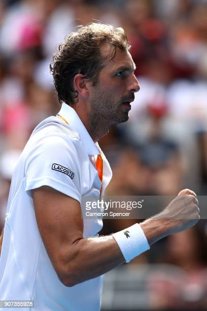 Julien Benneteau of France celebrates winning a point in his third round match against Fabio Fognini of Italy on day six of the 2018 Australian Open...