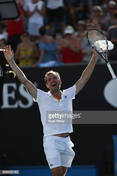 Julien Benneteau of France celebrates winning his second round match against David Goffin of Belgium on day four of the 2018 Australian Open at...