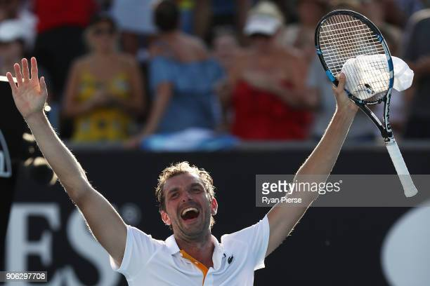 Julien Benneteau of France celebrates winning match point in his second round match against David Goffin of Belgium on day four of the 2018...