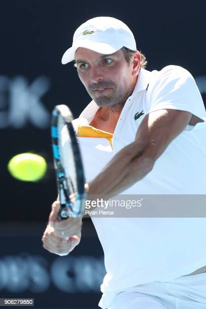 Julien Benneteau of France plays a backhand in his second round match against David Goffin of Belgium on day four of the 2018 Australian Open at...