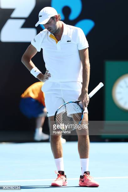 Julien Benneteau of France reacts in his second round match against David Goffin of Belgium on day four of the 2018 Australian Open at Melbourne Park...