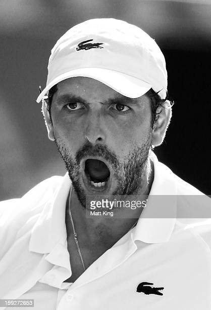 Julien Benneteau of France reacts in his semi final match against Kevin Anderson of South Africa during day six of the Sydney International at Sydney...