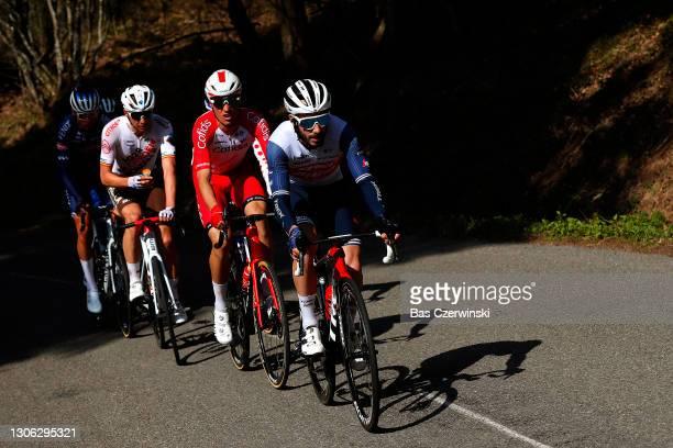 Julien Bernard of France and Team Trek - Segafredo, Anthony Perez of France and Team Cofidis, Oliver Naesen of Belgium and AG2R Citröen Team & Oscar...