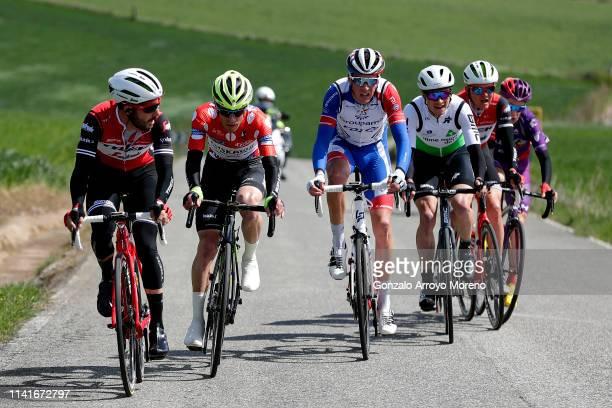 Julien Bernard of France and Team Trek - Segafredo / Garikoitz Bravo of Spain and Team Euskadi Basque Country - Murias Polka Dot Mountain Jersey /...