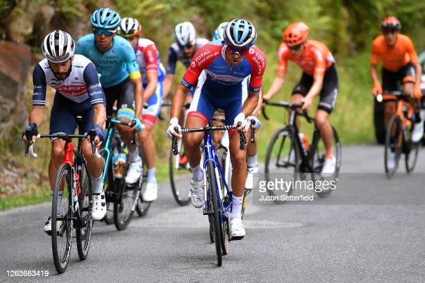 Julien Bernard of France and Team Trek - Segafredo / Lilian Calmejane of France and Team Total Direct Energie / Harold Tejada Canacue of Colombia and...