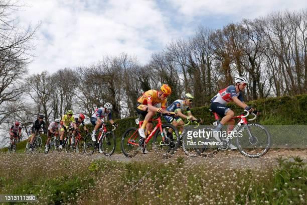 Julien Bernard of France, Theuns Edward of Belgium and Team Trek - Segafredo, Stan Dewulf of Belgium and Team AG2R Citröen Team, Sebastien Grignard...