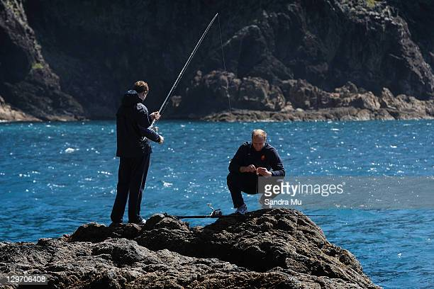 Julien Bonnaire and Pascal Pape of the France IRB Rugby World Cup 2011 squad enjoy HeliFishing on Great Barrier Island on October 20 2011 in Auckland...