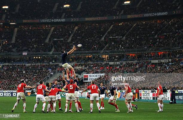 Julien Bonnaire of France jumps for the lineout ball during the RBS 6 Nations Championship match between France and Wales at Stade de France on March...