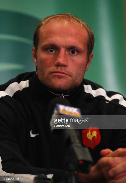 Julien Bonnaire of France speaks to media during a France IRB Rugby World Cup 2011 press conference at The Crowne Plaza on October 19 2011 in...
