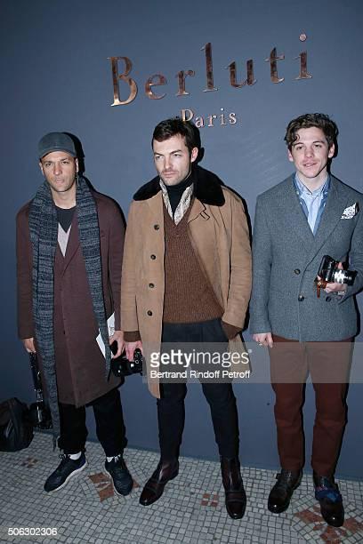 Julien Boudet FrancoisXavier Watine and Robert Spangle attend the Berluti Menswear Fall/Winter 20162017 show as part of Paris Fashion Week on January...