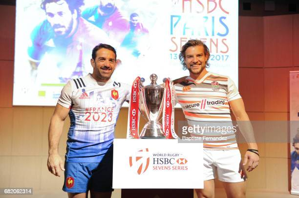 Julien Candelon of France and Tom Mitchell of England during Captains photocall and press conference prior to the Hsbc Paris Rugby Sevens on May 11...