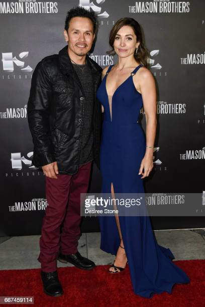 """Julien Cesario and Carlotta Montanari attend the premiere of """"The Mason Brothers"""" at the Egyptian Theatre on April 11, 2017 in Hollywood, California."""