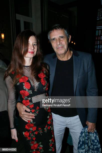 Julien Clerc and his wife Helene Gremillon attend Claude Lelouch celebrates his 80th Birthday at Restaurant Victoria on October 30 2017 in Paris...