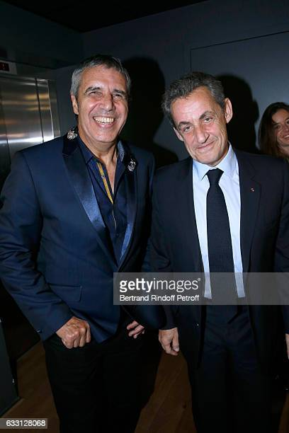 Julien Clerc and Nicolas Sarkozy attend the Charity Gala against Alzheimer's disease at Salle Pleyel on January 30 2017 in Paris France