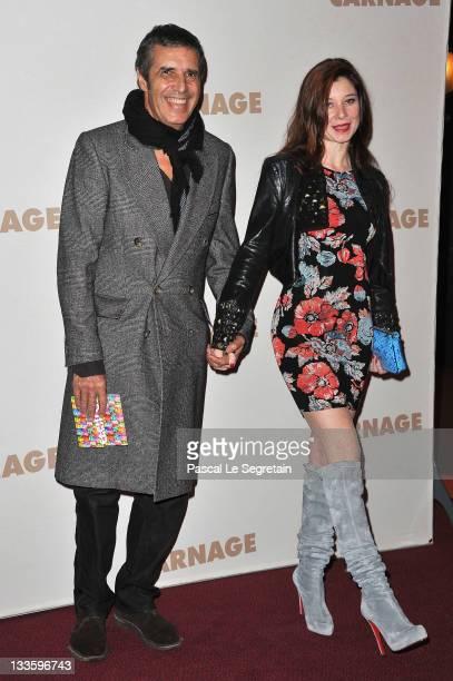 Julien Clerc and wife Hélène Grémillon attend 'Carnage Paris premiere at Cinema Gaumont Marignan on November 20 2011 in Paris France