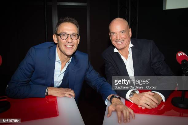Julien Courbet and Louis Bodin attend the RTLRTL2Fun Radio Press Conference to Announce Their TV Schedule for 2017/2018 at Cinema Elysee Biarritz on...