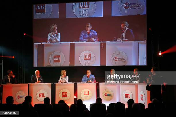 Julien Courbet Louis Bodin Alba Ventura Yves Calvi JeanPhilippe Janssens Cyprien Cini and Stephane Bern attend the RTL RTL2 Fun Radio Press...