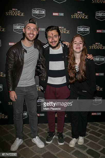 Julien Dachaud aka 'Newtiteuf' David Lafarge and Elodie Nassar aka 'MissJirachi' attend the 'ComicCon Paris 2016' Festival on October 23 2016 in...