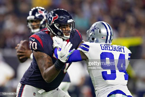 Julien Davenport of the Houston Texans blocks Randy Gregory of the Dallas Cowboys at NRG Stadium on October 7 2018 in Houston Texans The Texans...