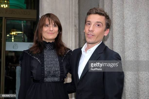 Julien Dossena and Marie Amelie Sauve attend the inauguration of the Exhibition Paco Rabanne Royal Academy of Fine Arts of San Fernando of Madrid...