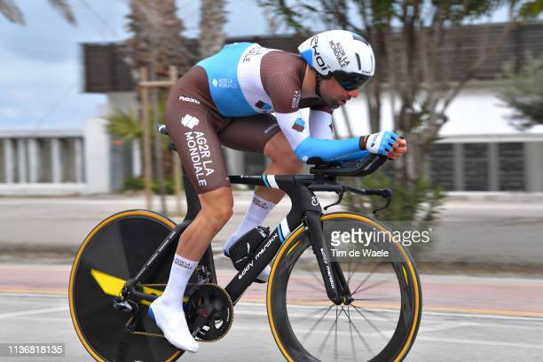 Julien Duval of France and Team AG2R La Mondiale / during the 54th TirrenoAdriatico 2019 Stage 7 a 1005km Individual Time Trial stage from San...