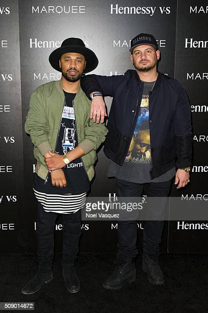 Julien Edwards and Nicky Diamonds attend the Marquee Takeover at Verso Big Game Weekend presented by Hennessy VS Day 4 on February 7 2016 in San...