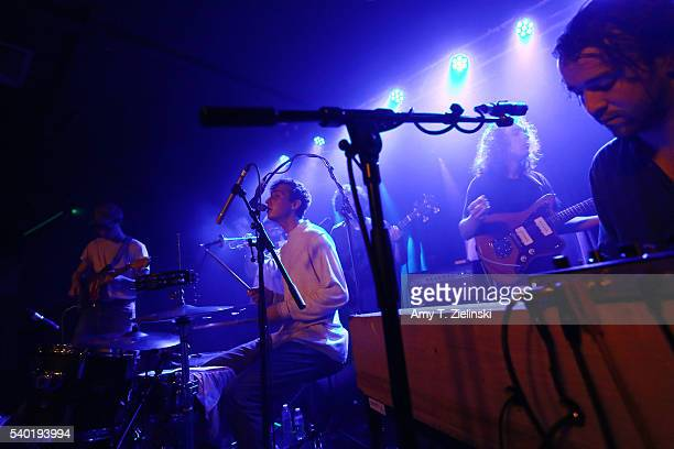Julien Ehrlich on drums and vocals Max Kakacek on guitar Ziyad Asrar on keyboards and Will Miller on trumpet of the band Whitney perform at Oslo on...