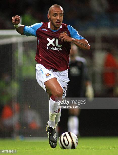 Julien Faubert of West Ham United in action during the Carling Cup Round 2 match between West Ham United and Macclesfield at Upton Park Stadium in...