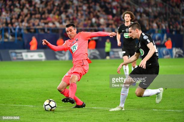 Julien Feret of Caen and Julian Draxler of PSG during the French Cup Semi Final match between Caen and Paris Saint Germain on April 18 2018 in Caen...