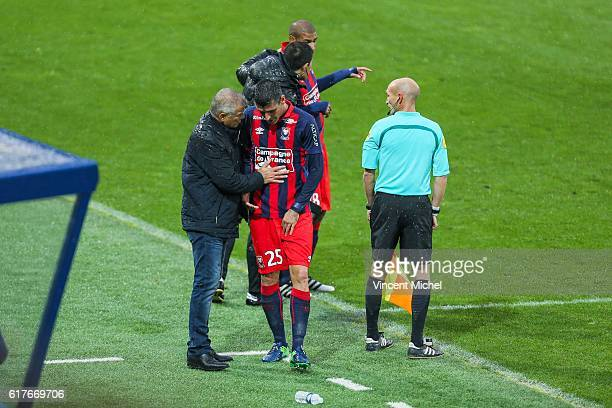 Julien Feret of Caen and Patrice Garande of Caen during the Ligue 1 match between SM Caen and AS Saint-Etienne at Stade Michel D'Ornano on October...