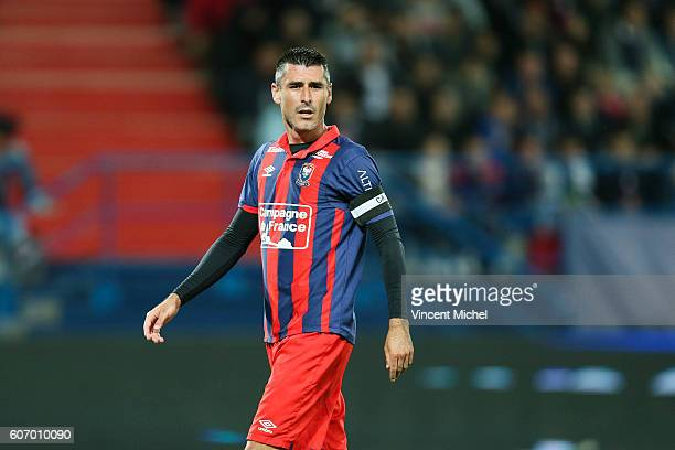 Julien Feret of Caen during the Ligue 1 match between SM Caen and Paris Saint Germain at Stade Michel D'Ornano on September 16 2016 in Caen France