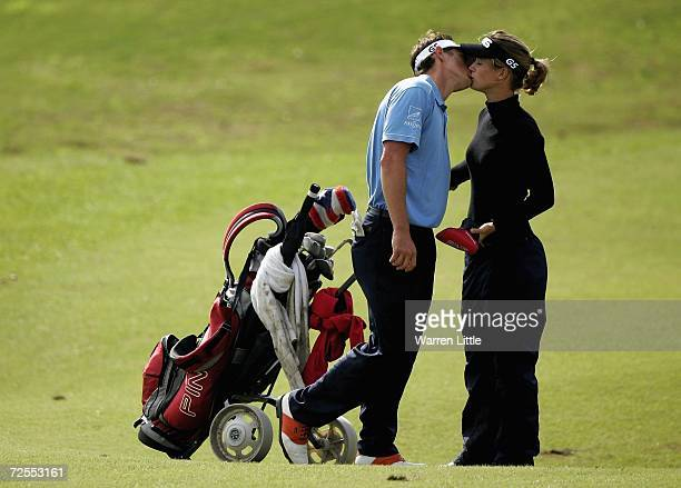 Julien Foret of France kisses his caddie and girlfriend Alexandra Vilatte of France during the fifth round of the European Tour Qualifying School...