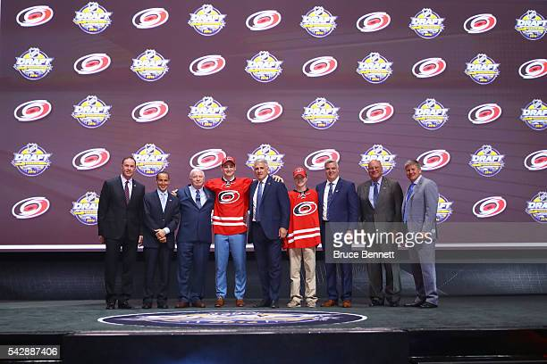 Julien Gauthier celebrates with the Carolina Hurricanes after being selected 21st during round one of the 2016 NHL Draft on June 24 2016 in Buffalo...