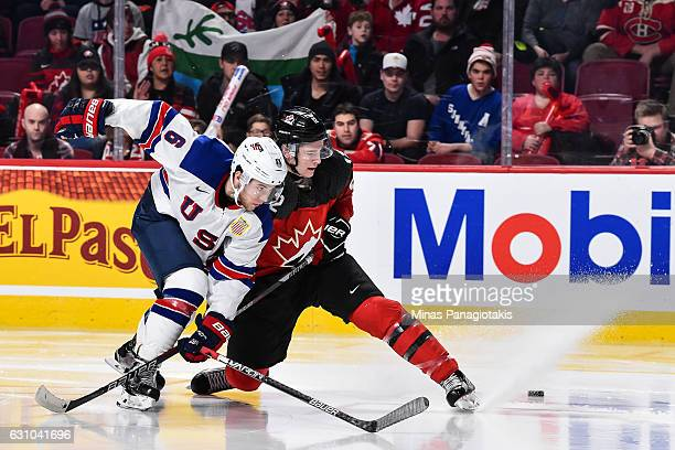 Julien Gauthier of Team Canada and Casey Fitzgerald of Team United States skate after the puck during the 2017 IIHF World Junior Championship gold...