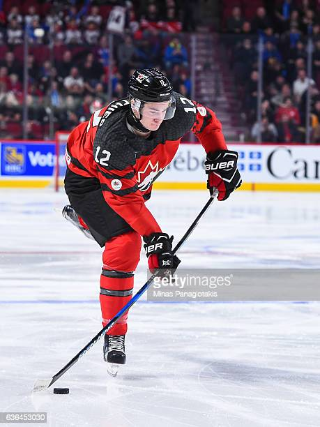 Julien Gauthier of Team Canada prepares to shoot the puck during the IIHF exhibition game against Team Finland at the Bell Centre on December 19 2016...