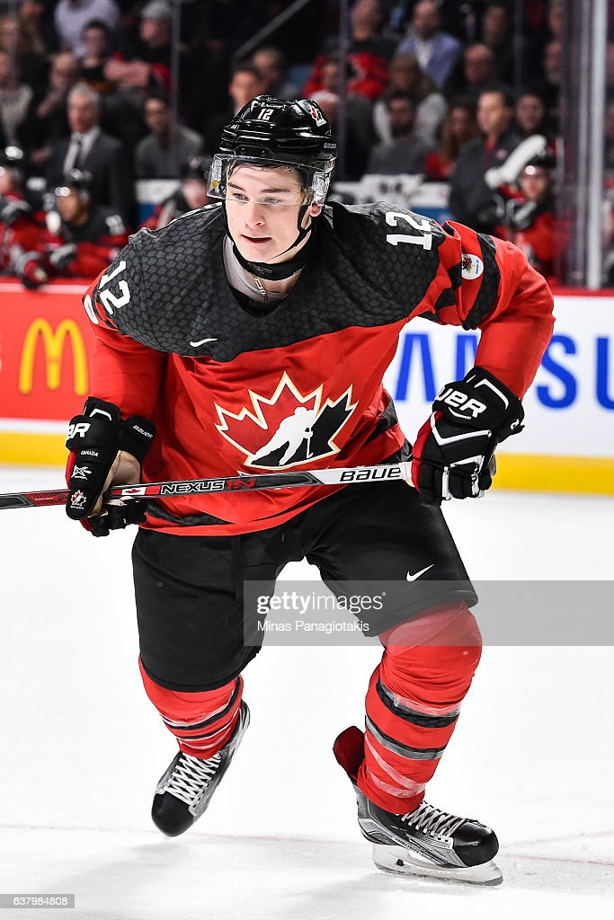 Julien Gauthier #12 of Team Canada skates during the 2017 IIHF World Junior Championship semifinal game against Team Sweden at the Bell Centre on January 4, 2017 in Montreal, Quebec, Canada. Team Canada defeated Team Sweden 5-2 and move on to the gold medal round.