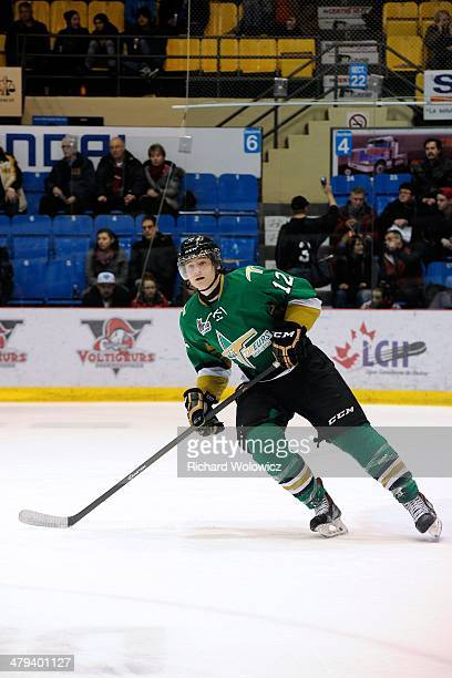 Julien Gauthier of the Val D'Or Foreurs skates during the QMJHL game against the Drummondville Voltigeurs at the Centre Marcel Dionne on February 14...
