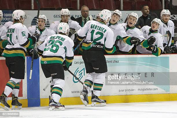 Julien Gauthier of the Vald'Or Foreurs celebrates his third period goal at the bench in a game against the Gatineau Olympiques on November 12 2016 at...