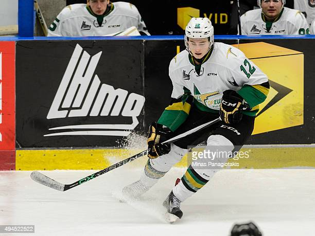 Julien Gauthier of the Vald'Or Foreurs puts on the breaks during the QMJHL game against the BlainvilleBoisbriand Armada at the Centre d'Excellence...