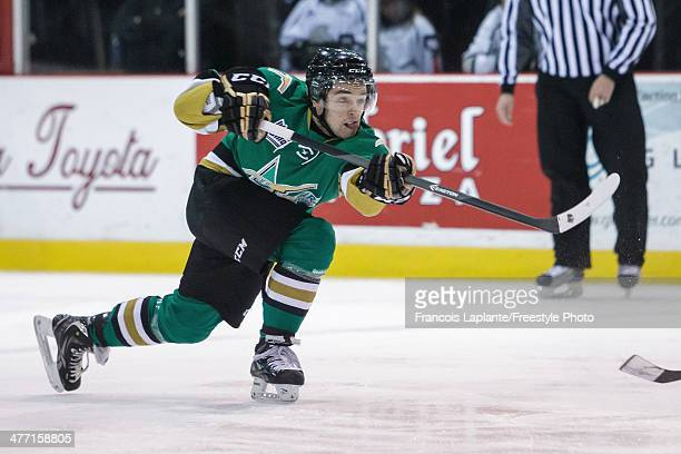 Julien Gauthier of the ValD'Or Foreurs shoots the puck against the Gatineau Olympiques during the QMJHL game on February 28 2014 at Robert Guertin...