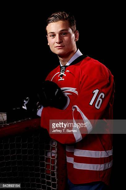 Julien Gauthier poses for a portrait after being selected 21st overall by the Carolina Hurricanes in round one during the 2016 NHL Draft on June 24...