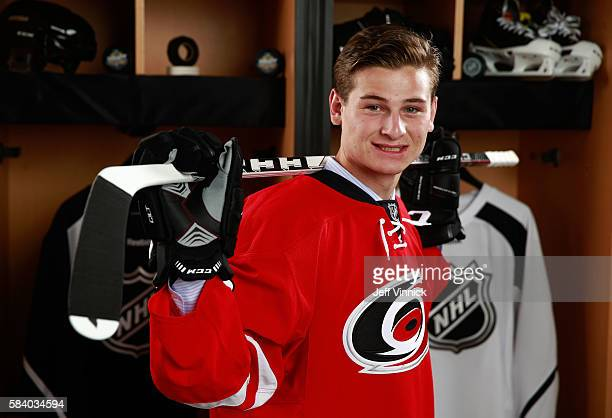 Julien Gauthier selected 21st overall by the Carolina Hurricanes poses for a portrait during round one of the 2016 NHL Draft at First Niagara Center...