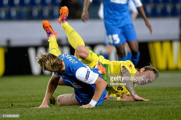 Julien Gorius of KRC Genk and Andrei Eschenko of FC Anji during the UEFA Europa League Round of 32 second leg match between KRC Genk and FC Anji...