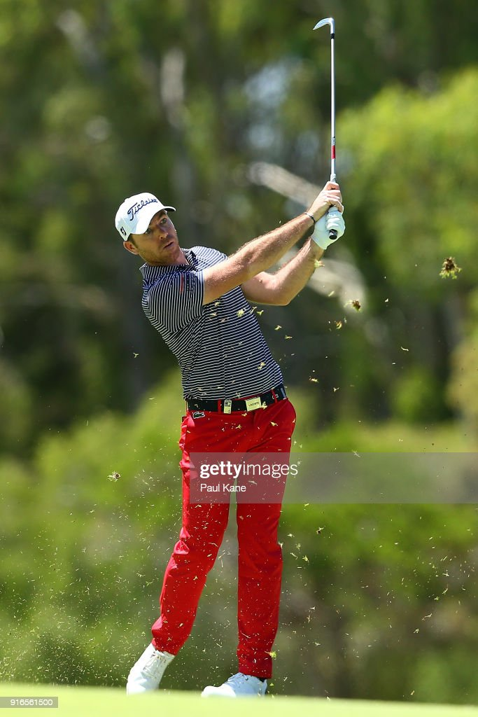 Julien Guerrier of France plays his second shot on the 4th hole during day three of the World Super 6 at Lake Karrinyup Country Club on February 10, 2018 in Perth, Australia.