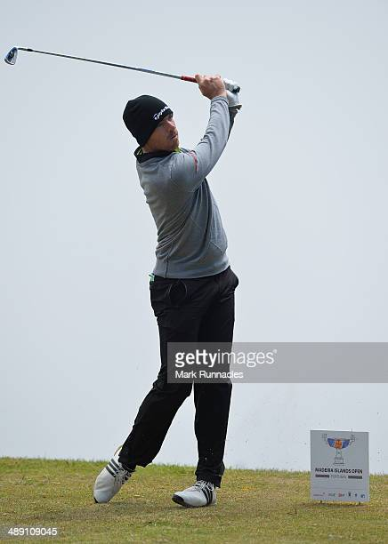 Julien Guerrier of France plays his tee shot at the 5th hole during the Madeira Islands Open - Portugal - BPI at Club de Golf do Santo da Serra on...