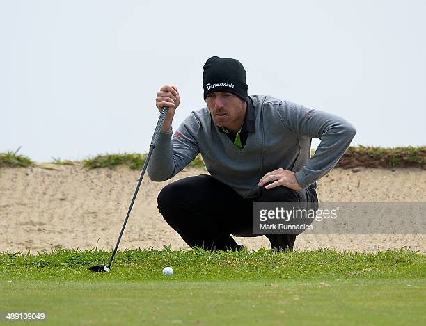 Julien Guerrier of France putting on the 4th green during the Madeira Islands Open - Portugal - BPI at Club de Golf do Santo da Serra on May 10, 2014...