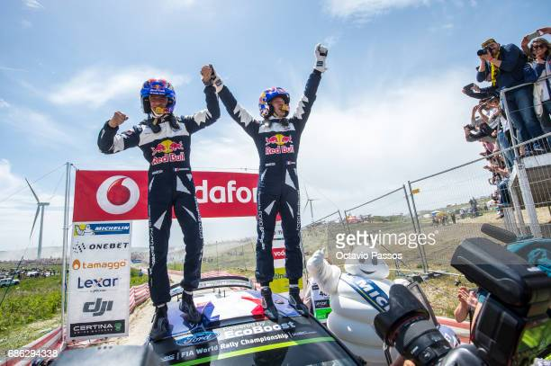Julien Ingrassia and Sebastien Ogier of Ford Fiesta WRC celebrates the victory at the Power Stage podium at the end of the SS19 Fafe Power Stage of...
