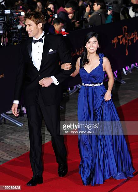 Julien Kang and Nam BoRa arrive at the 49th Daejong Film Award at KBS Hall on October 30 2012 in Seoul South Korea