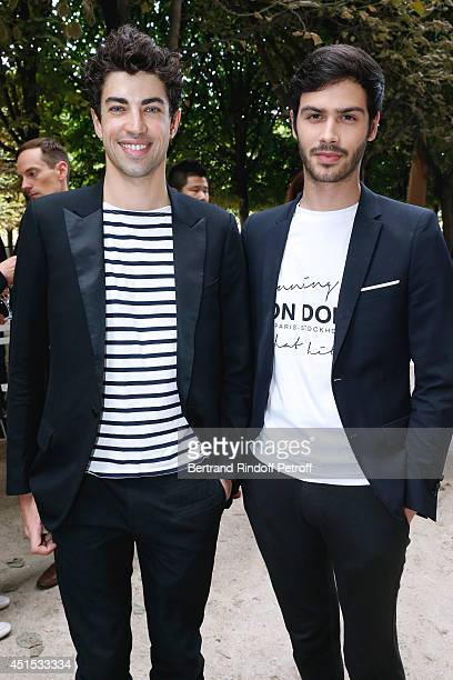 Julien Landais and Jesse Remond Lacroix attend the 'Qeelin' high Jewellery Exhibition opening Cocktail 'Mogoaku in Paris' at Jardin du Palais Royal...