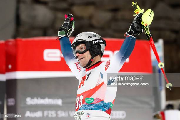 Julien Lizeroux of France celebrates during the Audi FIS Alpine Ski World Cup Men's Slalom on January 28, 2020 in Schladming Austria.